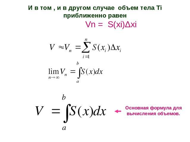 И в том , и в другом случае объем тела Тi приближенно равен Vn = S(xi)Δxi Основная формула для вычисления объемов.