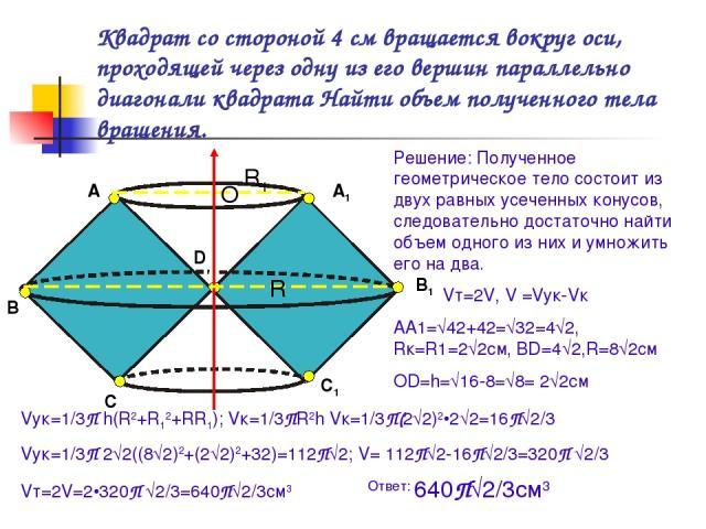 Квадрат со стороной 4 см вращается вокруг оси, проходящей через одну из его вершин параллельно диагонали квадрата Найти объем полученного тела вращения. А В С D А1 В1 С1 Решение: Полученное геометрическое тело состоит из двух равных усеченных конусо…