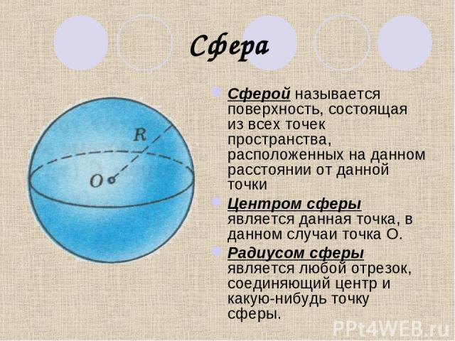 Сфера Сферой называется поверхность, состоящая из всех точек пространства, расположенных на данном расстоянии от данной точки Центром сферы является данная точка, в данном случаи точка О. Радиусом сферы является любой отрезок, соединяющий центр и ка…
