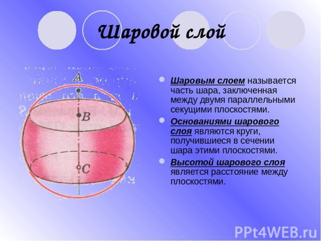 Шаровой слой Шаровым слоем называется часть шара, заключенная между двумя параллельными секущими плоскостями. Основаниями шарового слоя являются круги, получившиеся в сечении шара этими плоскостями. Высотой шарового слоя является расстояние между пл…