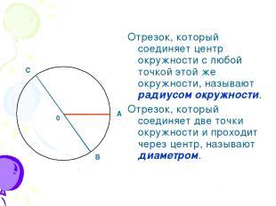 Отрезок, который соединяет центр окружности с любой точкой этой же окружности, н