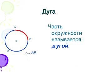 .о Дуга Часть окружности называется дугой. A B C AB