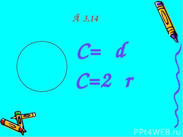 π≈ 3,14 С=πd С=2πr