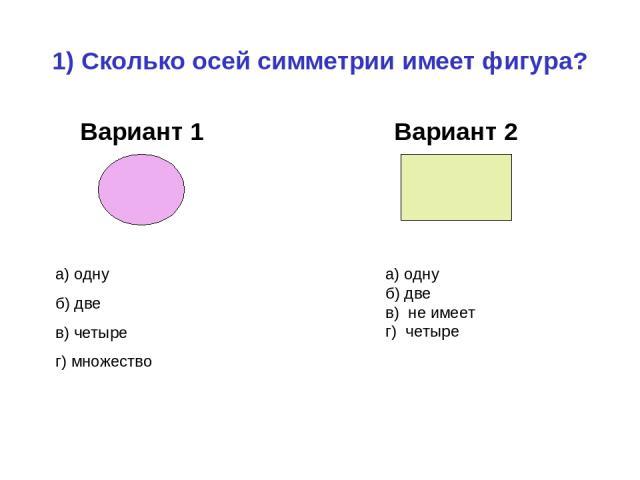 1) Сколько осей симметрии имеет фигура? Вариант 1 Вариант 2 а) одну б) две в) четыре г) множество а) одну б) две в) не имеет г) четыре
