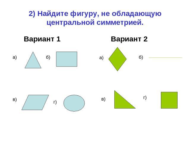 2) Найдите фигуру, не обладающую центральной симметрией. Вариант 1 Вариант 2 а) б) в) г) а) б) в) г)