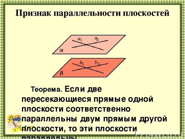 Признак параллельности плоскостей Теорема. Если две пересекающиеся прямые одной плоскости соответственно параллельны двум прямым другой плоскости, то эти плоскости параллельны.