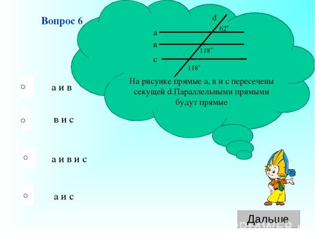а и в и с в и с а и с а и в Вопрос 6 На рисунке прямые а, в и с пересечены секущей d.Параллельными прямыми будут прямые а в с d 62˚ 118˚ 118˚