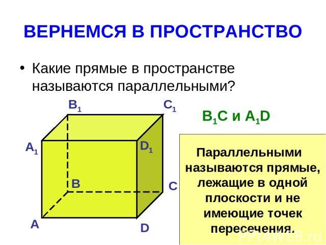 ВЕРНЕМСЯ В ПРОСТРАНСТВО Какие прямые в пространстве называются параллельными? А B C D А1 B1 C1 D1 B1C и A1D Параллельными называются прямые, лежащие в одной плоскости и не имеющие точек пересечения.