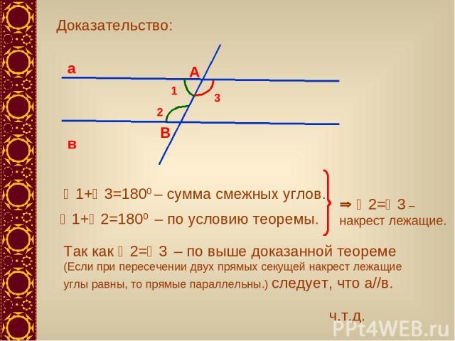Доказательство: 3 1+ 3=1800 – сумма смежных углов. Так как 2= 3 – по выше доказанной теореме (Если при пересечении двух прямых секущей накрест лежащие углы равны, то прямые параллельны.) следует, что а//в. 1+ 2=1800 – по условию теоремы. 2= 3 – накр…