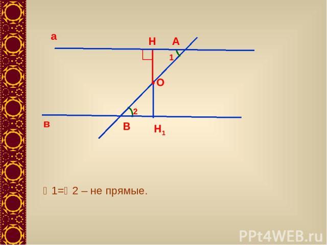 а в А В 1 2 1= 2 – не прямые. О Н Н1