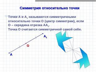 Симметрия относительно точки Точки А и А1 называются симметричными относительно