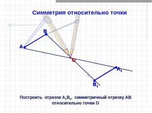 Симметрия относительно точки Построить отрезок А1В1, симметричный отрезку АВ отн