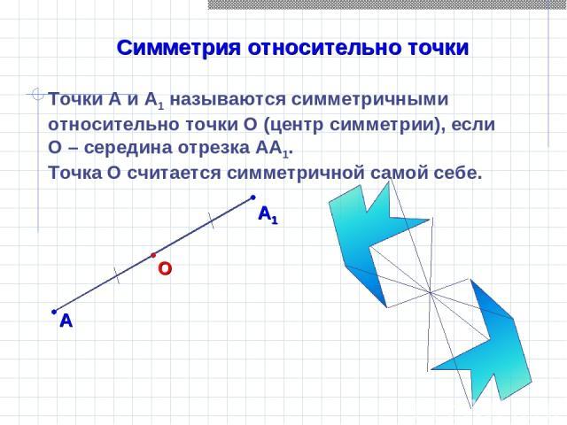 Симметрия относительно точки Точки А и А1 называются симметричными относительно точки О (центр симметрии), если О – середина отрезка АА1. Точка О считается симметричной самой себе.
