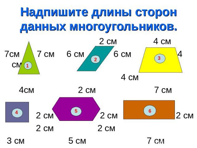 Надпишите длины сторон данных многоугольников. 2 см 4 см 7см 7 см 6 см 6 см 4 см 4 см 4см 2 см 7 см 5 см 2 см 2 см 2 см 2 см 2 см 3 см 5 см 7 см 1 2 3 4 5 6