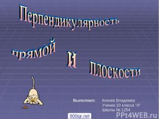 """Князев Владимир Ученик 10 класса """"A"""" Школы № 1254 Выполнил: 900igr.net"""
