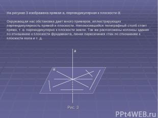 На рисунке 3 изображена прямая а, перпендикулярная к плоскости α. Окружающая нас