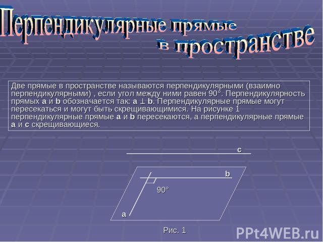 Две прямые в пространстве называются перпендикулярными (взаимно перпендикулярными) , если угол между ними равен 90°. Перпендикулярность прямых a и b обозначается так: a b. Перпендикулярные прямые могут пересекаться и могут быть скрещивающимися. На р…