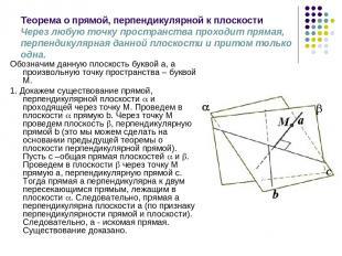 Теорема о прямой, перпендикулярной к плоскости Через любую точку пространства пр