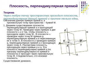 Плоскость, перпендикулярная прямой Обозначим данную прямую буквой а, а произволь