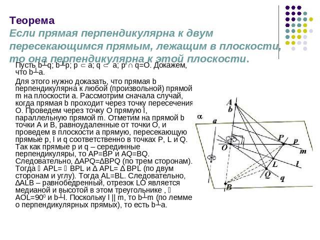 Теорема Если прямая перпендикулярна к двум пересекающимся прямым, лежащим в плоскости, то она перпендикулярна к этой плоскости. Пусть b┴q; b┴p; p a; q a; p ∩ q=O. Докажем, что b┴a. Для этого нужно доказать, что прямая b перпендикулярна к любой (прои…