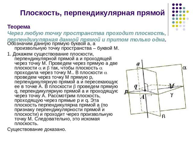 Плоскость, перпендикулярная прямой Обозначим данную прямую буквой а, а произвольную точку пространства – буквой М. 1. Докажем существование плоскости, перпендикулярной прямой а и проходящей через точку М. Проведем через прямую а две плоскости и так,…