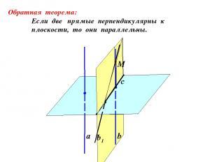 а b b1 Обратная теорема: Если две прямые перпендикулярны к плоскости, то они пар