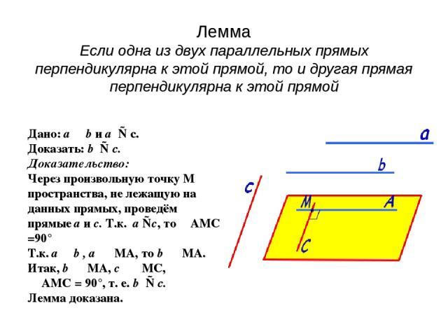 Лемма Если одна из двух параллельных прямых перпендикулярна к этой прямой, то и другая прямая перпендикулярна к этой прямой Дано: а b и а ⊥ с. Доказать: b ⊥ c. Доказательство: Через произвольную точку М пространства, не лежащую на данных прямых, про…