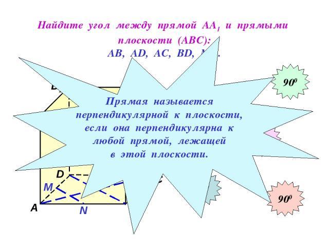 Найдите угол между прямой АА1 и прямыми плоскости (АВС): АВ, АD, АС, ВD, МN. D1 В А1 А D С1 С В1 N М 900 900 900 900 900 Прямая называется перпендикулярной к плоскости, если она перпендикулярна к любой прямой, лежащей в этой плоскости.