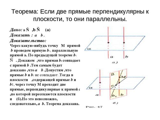 Теорема: Если две прямые перпендикулярны к плоскости, то они параллельны. Дано: a ⊥α,b ⊥α (а) Доказать : a ║ b . Доказательство: Через какую-нибудь точку M прямой b проведем прямую b1, параллельную прямой a. По предыдущей теореме b1 ⊥α. Докажем ,что…