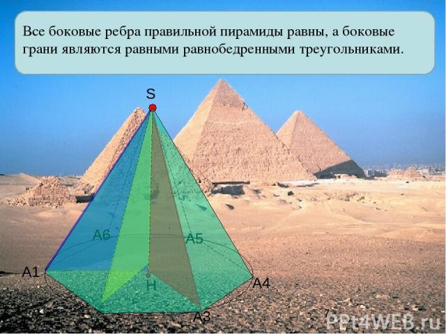Все боковые ребра правильной пирамиды равны, а боковые грани являются равными равнобедренными треугольниками. А1 А2 А3 А4 А5 А6 S Н