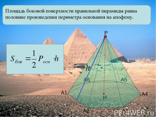 Площадь боковой поверхности правильной пирамиды равна половине произведения периметра основания на апофему. А1 А2 А3 А4 А5 А6 Р Н