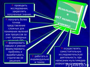 Использование ИКТ позволяет ученику: получать более точное представление сложных