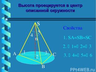 Высота проецируется в центр описанной окружности Свойства s A B C 1 2 3 6 4 5 1.