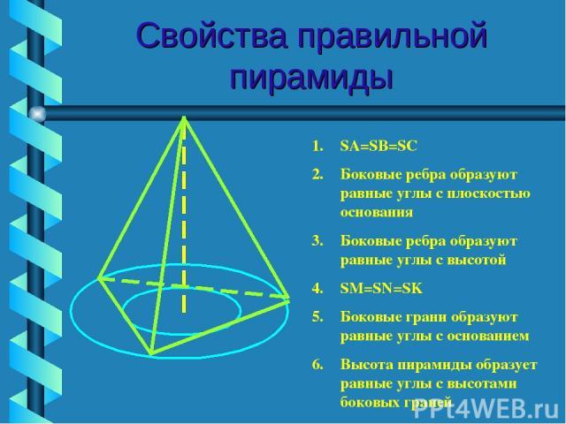 Свойства правильной пирамиды SA=SB=SC Боковые ребра образуют равные углы с плоскостью основания Боковые ребра образуют равные углы с высотой SM=SN=SK Боковые грани образуют равные углы с основанием Высота пирамиды образует равные углы с высотами бок…