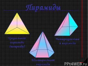 Пирамиды Треугольная пирамида (тетраэдр) Шестиугольная пирамида Четырехугольная