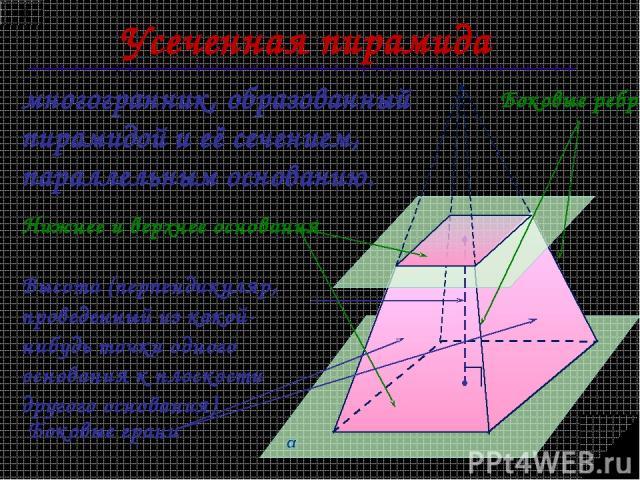 Усеченная пирамида многогранник, образованный пирамидой и её сечением, параллельным основанию. Нижнее и верхнее основания Боковые грани Боковые ребра Высота (перпендикуляр, проведенный из какой-нибудь точки одного основания к плоскости другого основания)