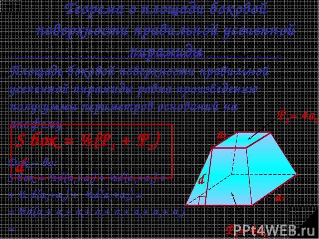 Теорема о площади боковой поверхности правильной усеченной пирамиды Площадь боковой поверхности правильной усеченной пирамиды равна произведению полусуммы периметров оснований на апофему S бок = ½(Р1 + Р2) d P1= 4a1 P2= 4a2 Док – во: S бок = ½d(a1+a…