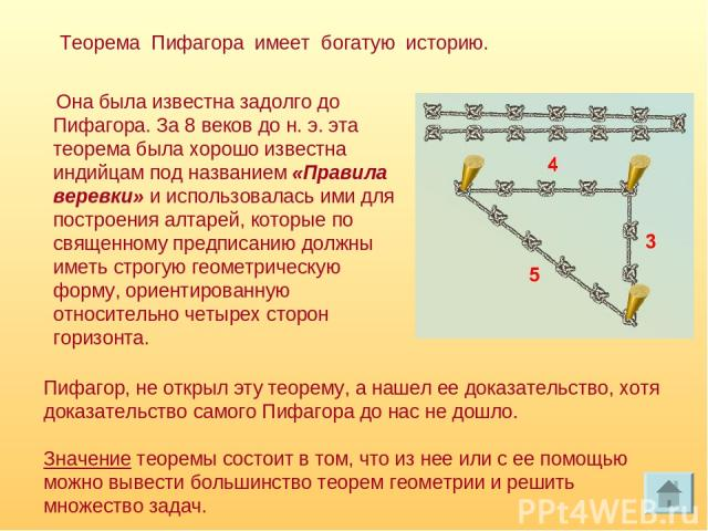 Она была известна задолго до Пифагора. За 8 веков до н. э. эта теорема была хорошо известна индийцам под названием «Правила веревки» и использовалась ими для построения алтарей, которые по священному предписанию должны иметь строгую геометрическую ф…