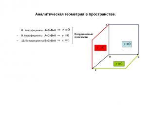 Аналитическая геометрия в пространстве. 8. Коэффициенты A=B=D=0 9. Коэффициенты