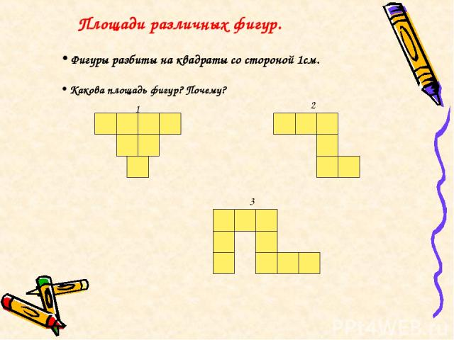 Площади различных фигур. 1 2 3 Фигуры разбиты на квадраты со стороной 1см. Какова площадь фигур? Почему?