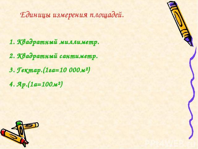 Единицы измерения площадей. Квадратный миллиметр. Квадратный сантиметр. Гектар.(1га=10 000м²) Ар.(1а=100м²)