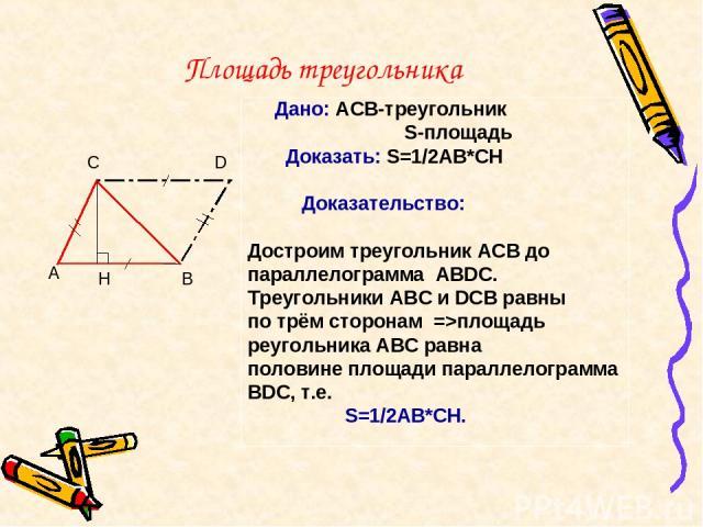 Площадь треугольника Дано: АСВ-треугольник S-площадь Доказать: S=1/2AB*CH Доказательство: Достроим треугольник ACB до параллелограмма ABDC. Треугольники ABC и DCB равны по трём сторонам =>площадь реугольника АВС равна половине площади параллелограмм…