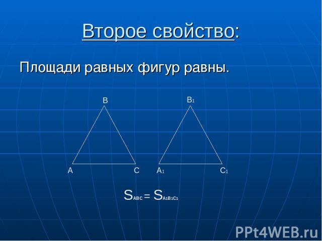 Второе свойство: Площади равных фигур равны. А В С А1 С1 В1 SАВС = SА1В1С1