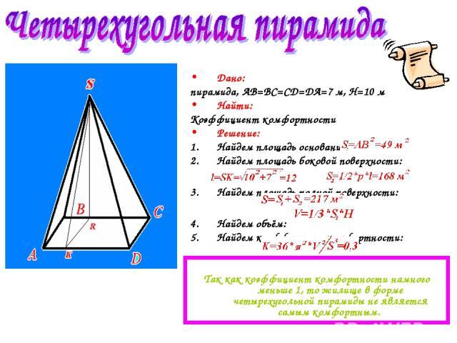 Дано: пирамида, AB=BC=CD=DA=7 м, H=10 м Найти: Коэффициент комфортности Решение: Найдем площадь основания: Найдем площадь боковой поверхности: Найдем площадь полной поверхности: Найдем объём: Найдем коэффициент комфортности: Так как коэффициент комф…