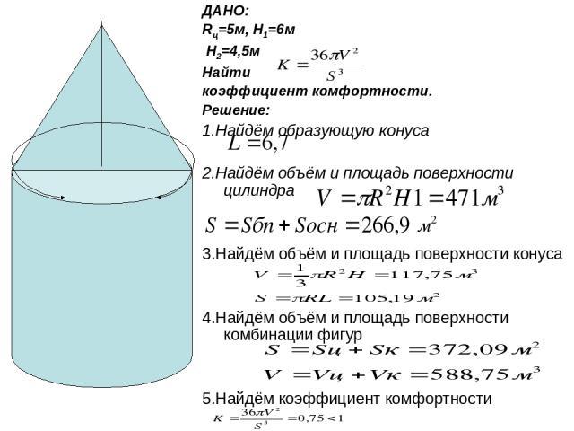 ДАНО: Rц=5м, H1=6м H2=4,5м Найти коэффициент комфортности. Решение: 1.Найдём образующую конуса 2.Найдём объём и площадь поверхности цилиндра 3.Найдём объём и площадь поверхности конуса 4.Найдём объём и площадь поверхности комбинации фигур 5.Найдём к…