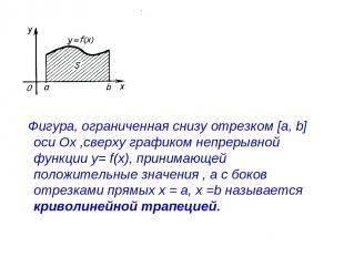 Фигура, ограниченная снизу отрезком [a, b] оси Ох ,сверху графиком непрерывной ф