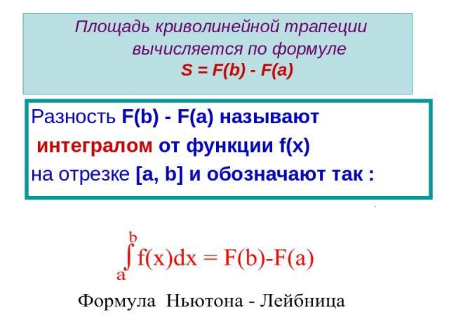 Площадь криволинейной трапеции вычисляется по формуле S = F(b) - F(a) Разность F(b) - F(a) называют интегралом от функции f(x) на отрезке [a, b] и обозначают так :