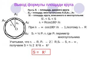 Вывод формулы площади круга А1 А2 А3 Аn O Rn rn Пусть S – площадь данного круга