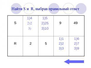 Найти S и R, выбрав правильный ответ
