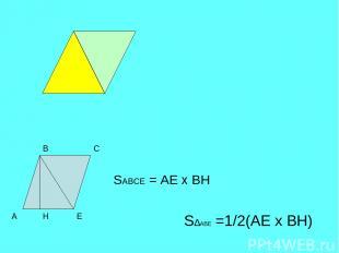 А В С Е Н S∆ABЕ =1/2(AЕ х ВН) SABСЕ = AЕ х ВН